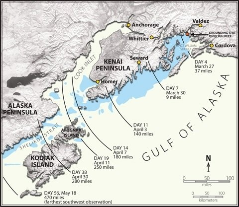 Map of Exxon Valdez Oil Spill